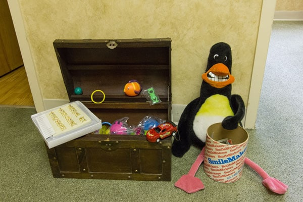 A treasure chest of toys for kids who floss and brush every day!